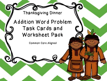 Thanksgiving Math Addition Task Cards