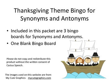 Thanksgiving Theme Bingo Board for Antonyms and Synonyms