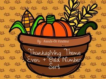 Thanksgiving Theme Even and Odd Math Center