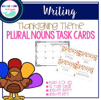 Thanksgiving Theme: Plural Nouns Task Cards