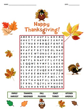 Thanksgiving Theme Word Search - Sight Words #2