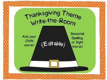 Thanksgiving Theme Write the Room {Editable}