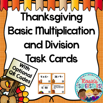 Thanksgiving Themed Basic Multiplication and Division Task