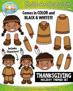 Thanksgiving Themed Build-A-Character Clipart Set — Includ