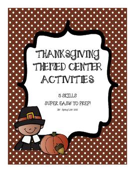 Thanksgiving Themed Center Activities Bundle - First Grade