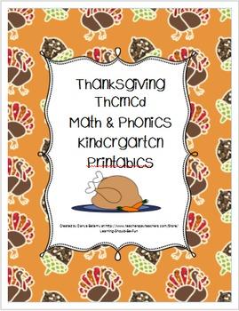 Thanksgiving Themed Math & Phonics Kindergarten Printables Pack
