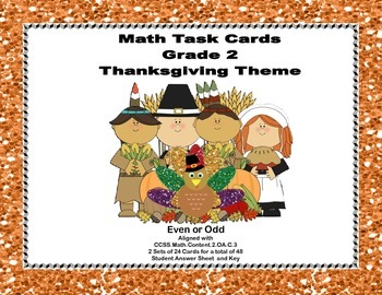 Thanksgiving Themed Math Task Cards- Grade 2- Odd and Even