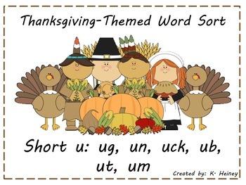 Thanksgiving Themed Short U Word Sort