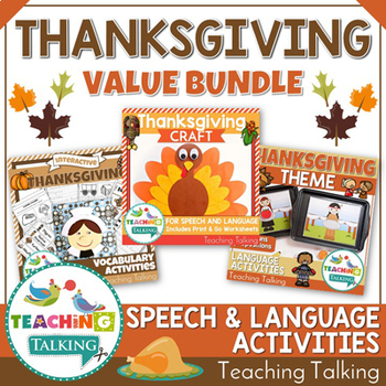 Thanksgiving Themed Speech Therapy Activities Value Bundle