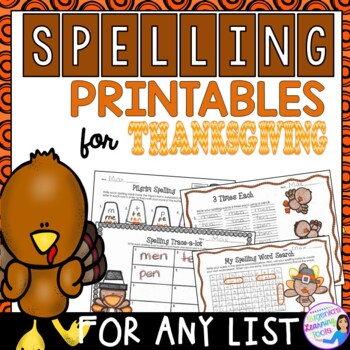 Spelling Activities and Practice for Thanksgiving, to fit