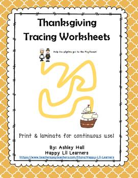 Thanksgiving Tracing Worksheets