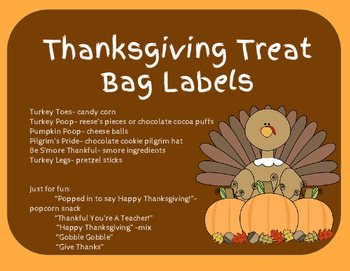 Thanksgiving Treat Bag Labels