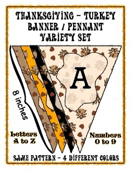 Thanksgiving Turkey Banner Pennant - 4 Design Bundle - Pri