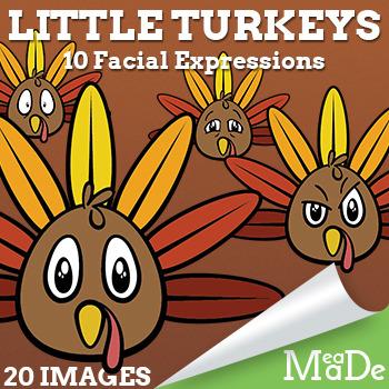 Thanksgiving Turkey Clip Art - Little Turkeys with Facial