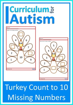 Turkey Count to 10 Missing Numbers, Autism Special Education