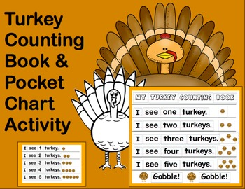 Thanksgiving Turkey Counting Book & Pocket Chart Activity