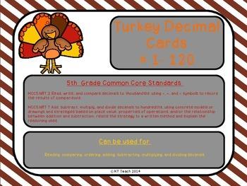 Thanksgiving Turkey Decimal Cards