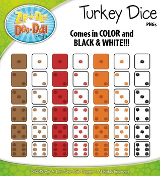 Thanksgiving Turkey Dice Clip Art Set — Over 40 Graphics!