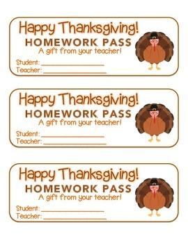 """Thanksgiving"" Turkey - Homework Pass –Holiday FUN! (color"