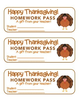 """Thanksgiving"" Turkey - Homework Pass – Holiday FUN! (full"