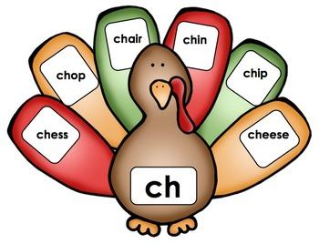 Thanksgiving Turkey - Literacy Center (Digraphs)
