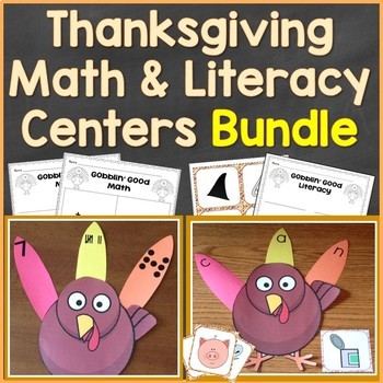 Thanksgiving Turkey Literacy & Math Centers Bundle (Common