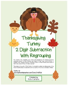 """Thanksgiving Turkey Math"" 2 Digit Subtraction With Regrou"