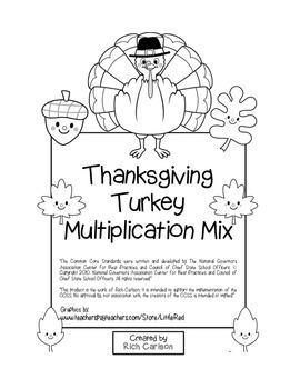 """Thanksgiving Turkey Math"" Mixed Multiplication - Common C"