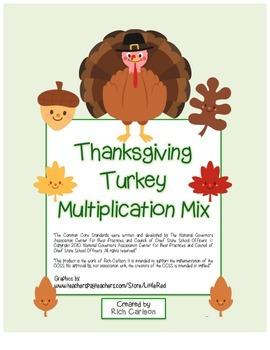"""Thanksgiving Turkey Math"" Mixed Multiplication - FUN! (bl"
