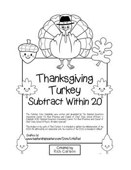 """Thanksgiving Turkey Math"" Subtract Within 20 - Common Cor"