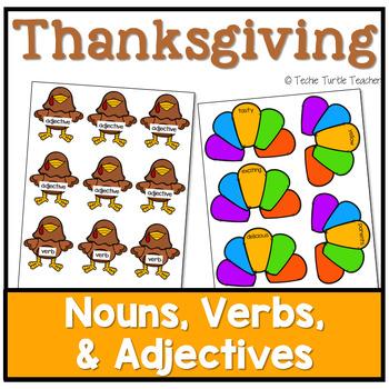 Thanksgiving Turkey Nouns, Adjectives, & Verbs - Worksheet