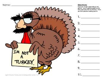 Thanksgiving Turkey Teeny Tiny Sight Words Kindergarten Tr