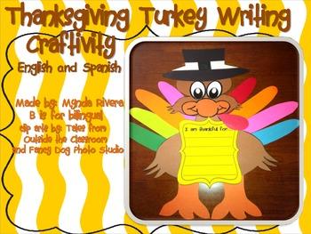 Thanksgiving Turkey Writing Craftivity (English & Spanish) by Mynda Rivera
