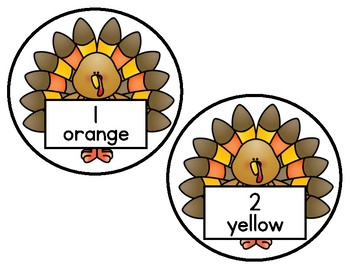 Thanksgiving Turkeys Write the Room Color Words