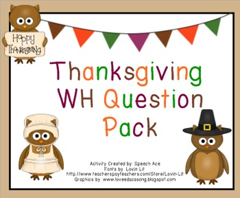 """Thanksgiving """"WH"""" Question Pack"""