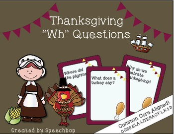 "Thanksgiving ""Wh"" Question Task Cards - Kindergarten {comm"