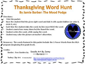 IRLA G POWER WORDS Thanksgiving Word Hunt