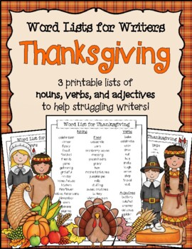 Thanksgiving Word List for Writers