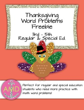 Thanksgiving Word Problem Freebie 2- Mixed Operations 3rd-