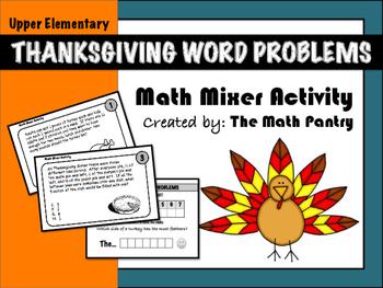 Thanksgiving Word Problems - Math Mixer Activity - Upper E