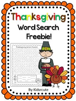 Thanksgiving Word Search Freebie