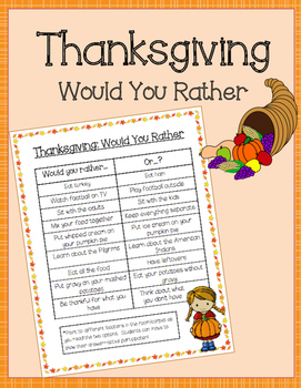 Thanksgiving Would You Rather FREEBIE