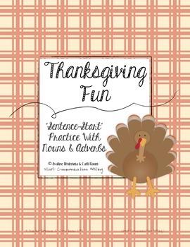 Thanksgiving Writing Activity - Sentence Start Practice wi