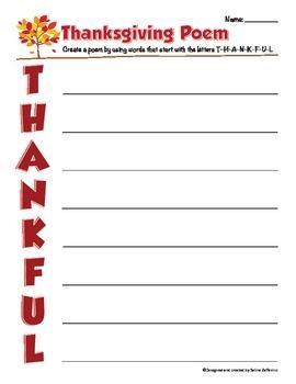 Thanksgiving Writing Activity - Poem