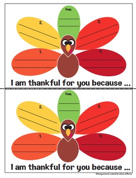 Thanksgiving Writing Activity Thankful Notes