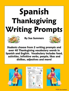 Spanish Thanksgiving Vocabulary Writing Assignment - 2 Wri