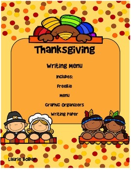 Thanksgiving Writing Menu with Graphic Organizers and Pape