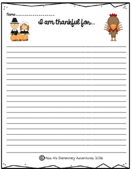 "Thanksgiving Writing Paper ""I am thankful..."""
