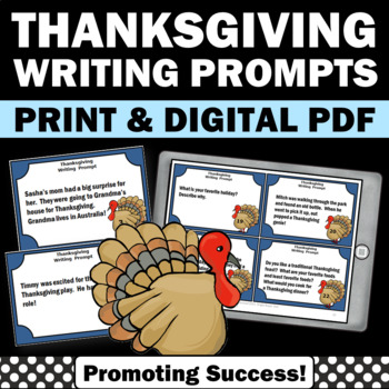 Thanksgiving Writing Prompts Task Cards Literacy Centers E
