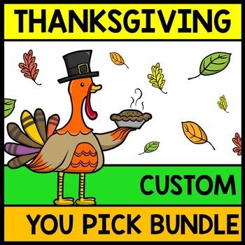 Thanksgiving YOU Pick Bundle: Math, Reading, Writing, Cook